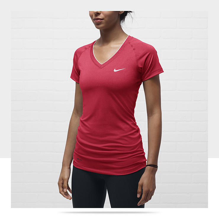 Nike Pro Essentials Fitted V Neck Womens Shirt 458663 611